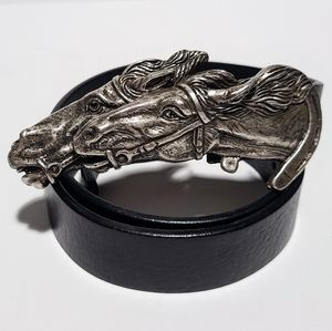 Gucci Silver Toned Double Horse Head Leather Belt